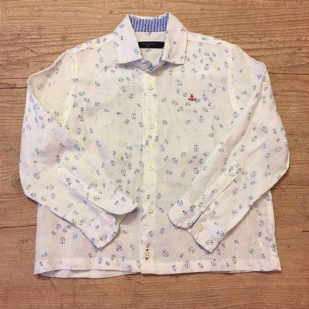 RICHARDS KIDS camisa social linho branca âncoras azuis 2-3 anos