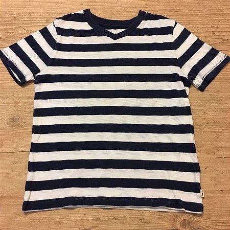 GAP KIDS camiseta decote V listras marinho e branca 4-5 anos