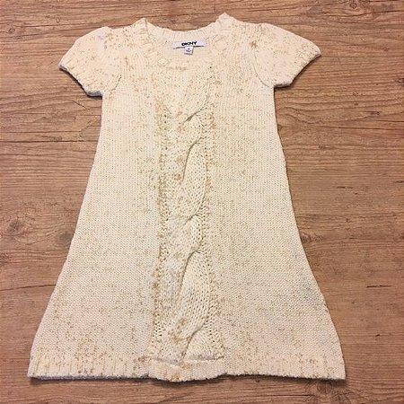 DKNY vestido tricô algodão bege 4 anos
