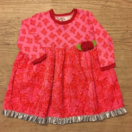 BABY LULU vestido malha aveludado rosa 18 meses