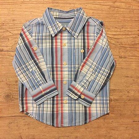 BABY GAP camisa social xadrez azul clara bolso na gente 18-24 meses