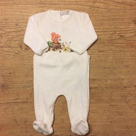 ZARA BABY macacão pezinho plush branco 1-6 meses