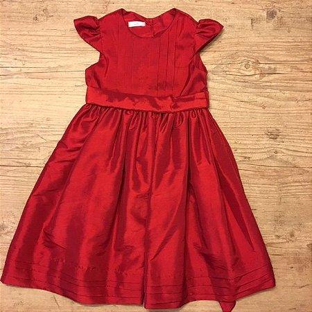 BUÉ vestido tafetá de seda vermelho 4 anos