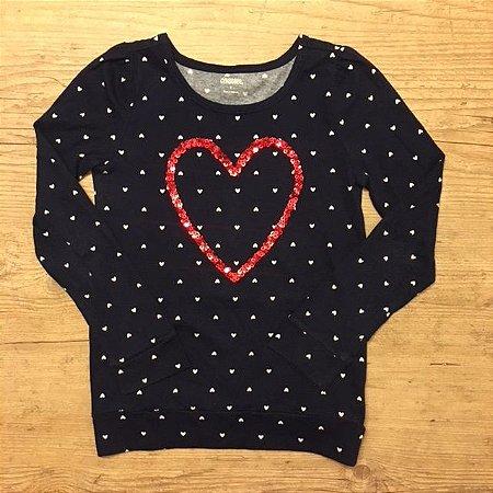 GYMBOREE camiseta marinho coração lantejoulas mg longa 7 anos