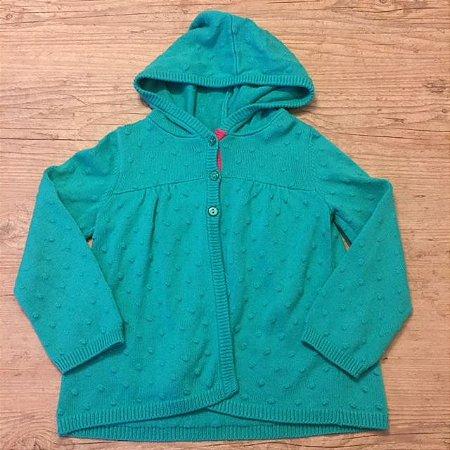 GYMBOREE casaco de linha verde com capuz detalhe Rosa 5 anos