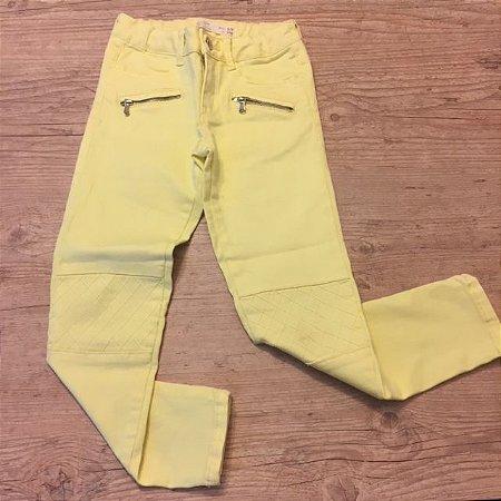 ZARA calça sarja amarela bolso zíper 6-7 anos