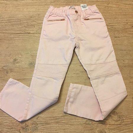 H&M calça sarja Rosa bolso zíper 6-7 anos