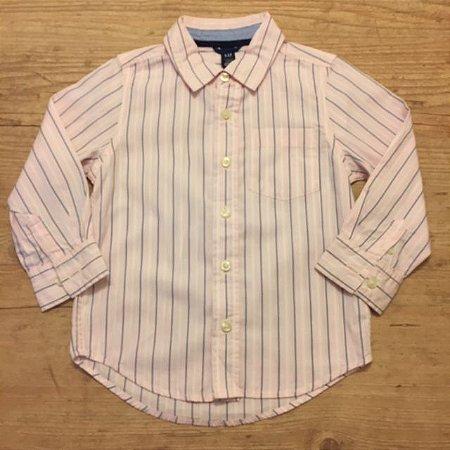 GAP KIDS camisa social rosa listras brancas e azul 4 anos