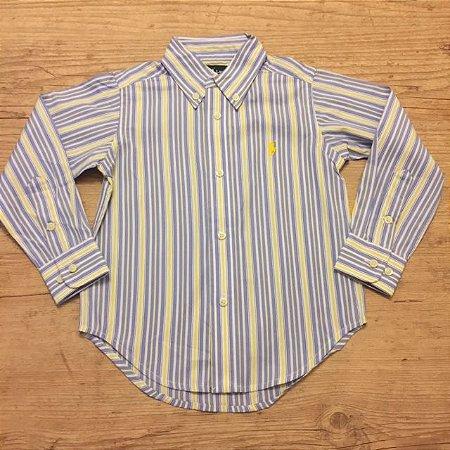RALPH LAUREN camisa social listras azul amarela e Branco 2 anos