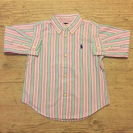 RALPH LAUREN camisa social listras rosa azul Branca e verde 24 meses
