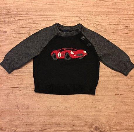 BABY GAP casaco linha preto e cinza estampa carro 3-6 meses
