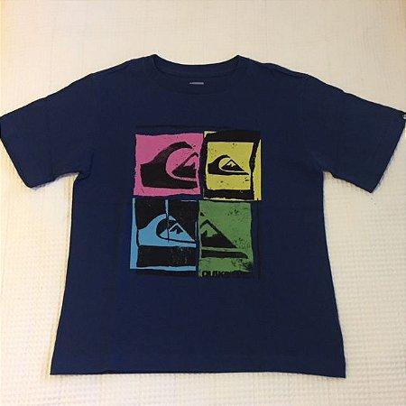 QUIKSILVER camiseta azul estampa Logomarca coloridas 5 anos