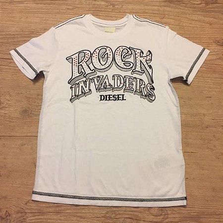 DIESEL camiseta branca ROCK 8 anos