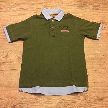 TOMMY HILFIGER camisa polo verde detalhes Oxford azul nas mangas e na gola 7 anos