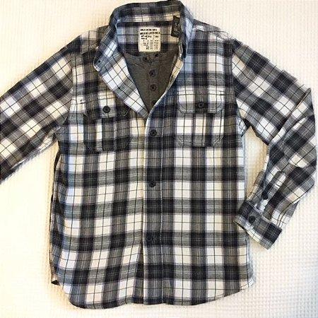 ZARA camisa social flanela xadrez preto e cinza 7 anos