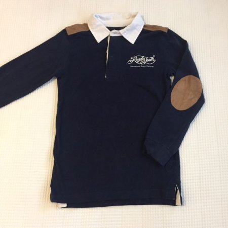 ZARA camisa polo marinho mg longa gola branca detalhe couro 5-6 anos
