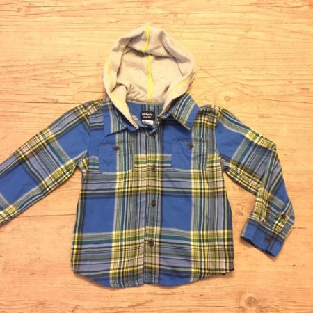 CARTERS camisa social xadrez azul mg longa e capuz 24 meses