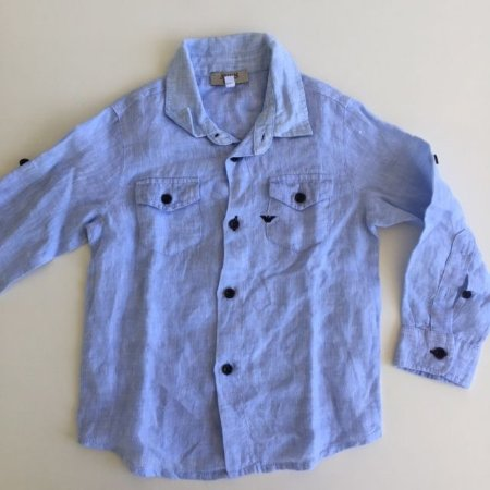ARMANI BABY camisa social linho azul 18 meses