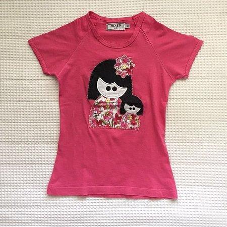 MIXED camiseta rosa com aplicação 2 anos