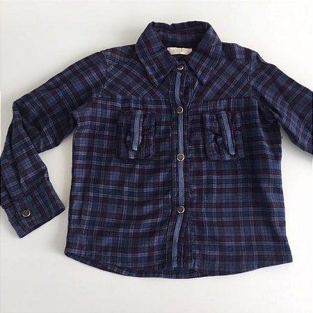 CRIS BARROS camisa social xadrez azul 2 anos