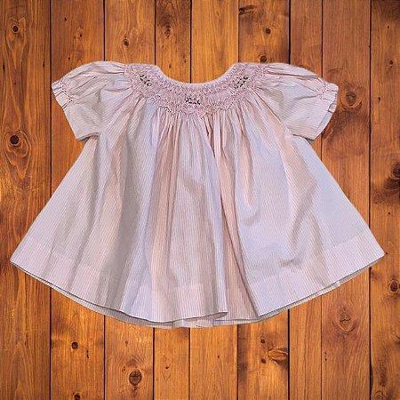 Vestido casinha de abelha rosa listras 0-3 meses