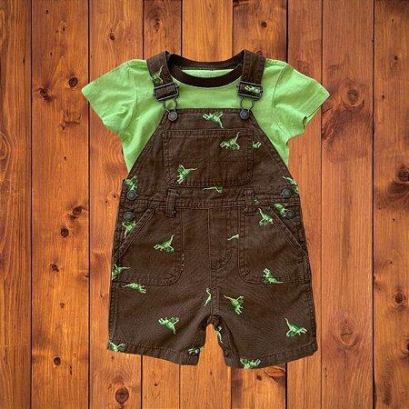 GREENDOG conjunto jardineira short e camiseta dinossauro 12 meses