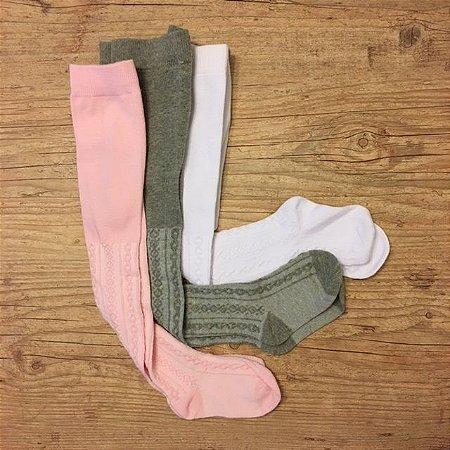 JBH KIT 3 meias calça linha, cinza, rosa e branca 12-24 meses