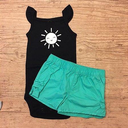 CARTERS conjunto body preto sol + short algodão verde 9 meses