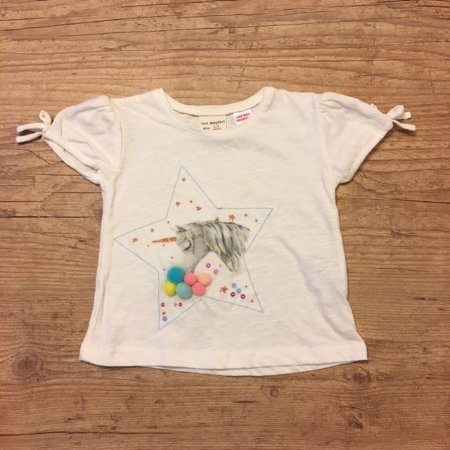 ZARA camiseta malha unicornio c bolas coloridas 6-9 meses
