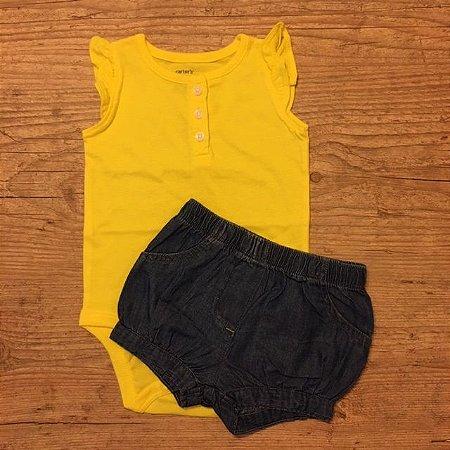 CARTERS conjunto body amarelo + short jeans 6 meses
