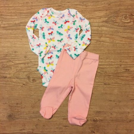 CARTERS conjunto body libelula + calça rosa NB