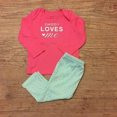 CARTERS conjunto camiseta mg longa rosa DADDY + calça verde pois 9 meses