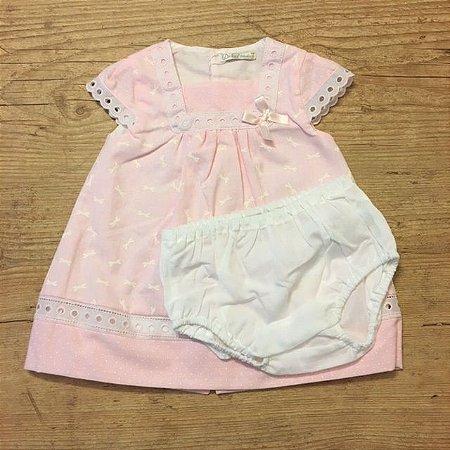 DR KID vestido rosa com calcinha estp libelula 6 meses
