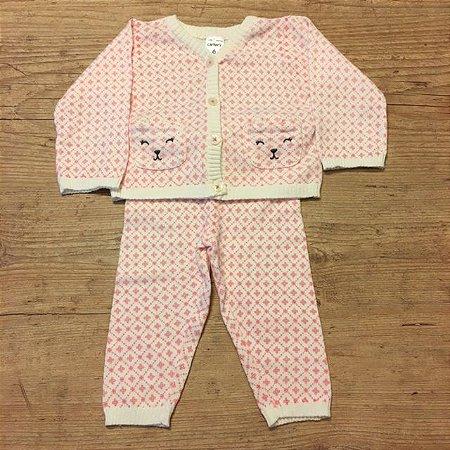 CARTERS conjunto calça e casaco linha estp rosa bolso gatinho 6 meses