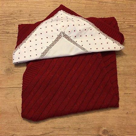 UPIÁ manta de linha vermelha + vira manta de pois vermelho