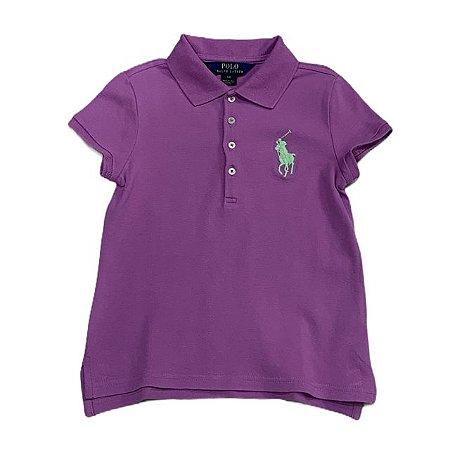 RALPH LAUREN camisa polo lilás 6 anos