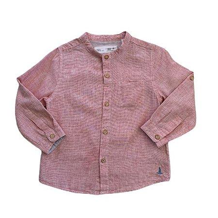 ZARA camisa social linho rosa 18-24 meses