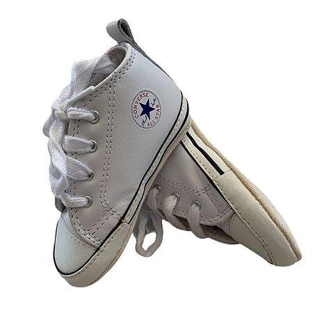 ALL STAR tênis branco couro ecológico cano alto USA 4 BRA 19