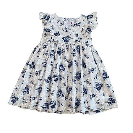 BONITA vestido algodão flores azul 1 ano