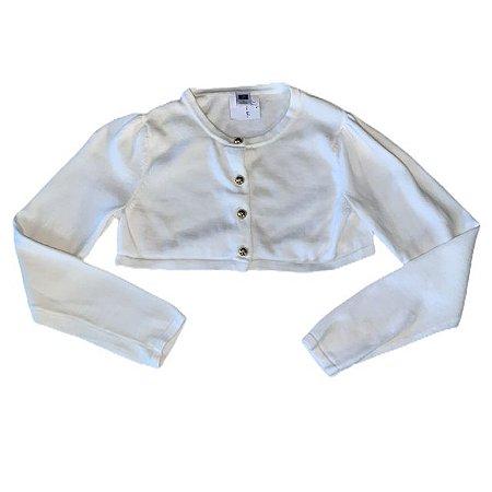 JANIE AND JACK casaco de linha branco tipo bolero 7 anos