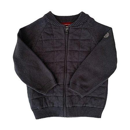 ZARA casaco linha e malha acolchoado cinza 18-24 meses