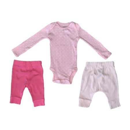 CARTERS kit body rosa pois branco + 2 legging rosa NB