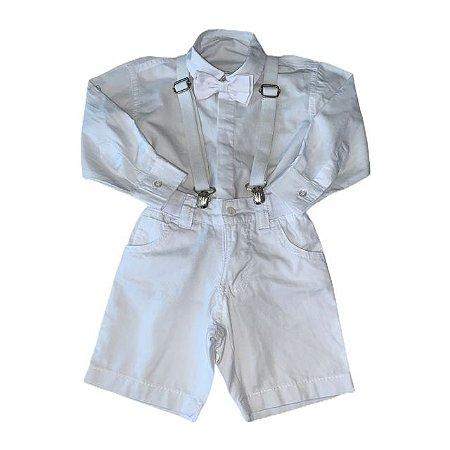 BABIES conjunto bermuda suspensório + camisa social branca c gravatinha 1 ano  ( pequenas manchas)
