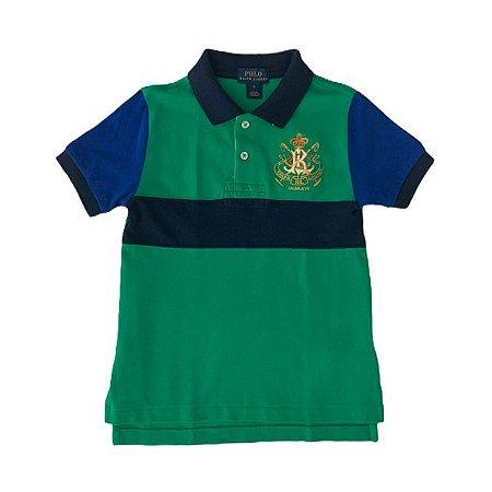 RALPH LAUREN camisa polo verde listra marinho mg azul royal 5 anos