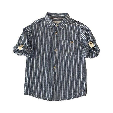 ZARA camisa social linho azul listras brancas 6 anos