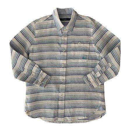 RICHARDS camisa social linho branca listras azuis 4-5 anos