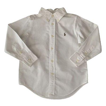 RALPH LAUREN camisa social Oxford branca 4 anos