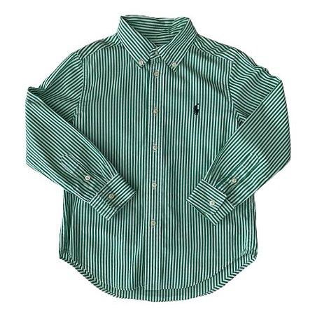 RALPH LAUREN camisa social listras verde e branca 5 anos