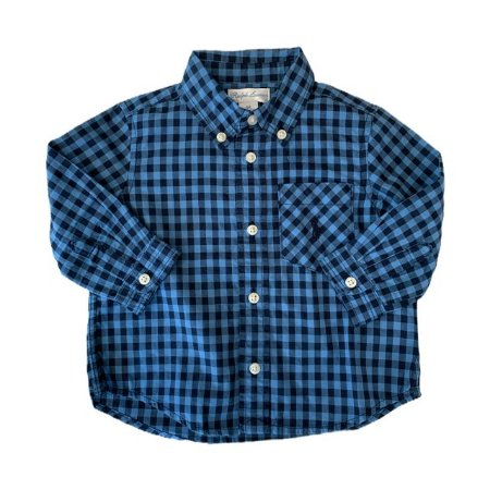 RALPH LAUREN camisa social xadrez azul 6 meses