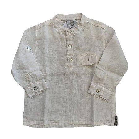 PAOLA BIMBI camisa social viscose branca M 6-12 meses